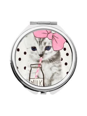 Зеркальце карманное Котенок и молоко Chocopony. Цвет: розовый, бежевый, молочный