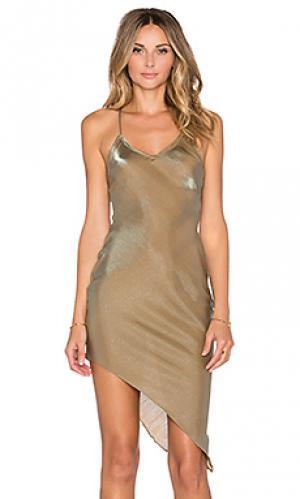 Платье майка на бретелях stolen midnight RISE OF DAWN. Цвет: коричневый