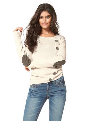 Пуловер Arizona. Цвет: серо-коричневый, темно-синий, цвет белой шерсти, черный