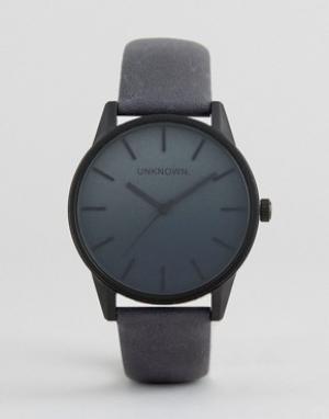 UNKNOWN Часы с темно-синим кожаным ремешком. Цвет: черный