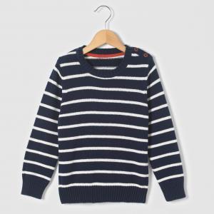 Пуловер в полоску, 3-12 лет R édition. Цвет: в полоску экрю,темно-синий в полоску