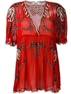 Полупрозрачная блузка с вышитыми цветами Jucca. Цвет: красный