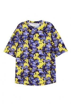 Хлопковая блузка с перчатками Balenciaga. Цвет: фиолетовый