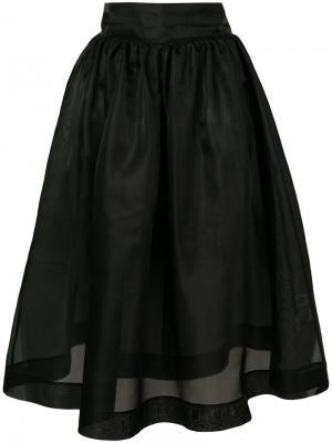 Пышная юбка-миди Ganni. Цвет: чёрный