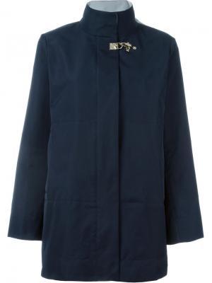 Укороченное пальто с застежкой на крючок Fay. Цвет: синий