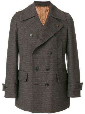 Двубортное пальто Gabriele Pasini. Цвет: коричневый