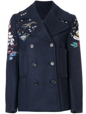 Двубортный пиджак с принтом Valentino. Цвет: синий
