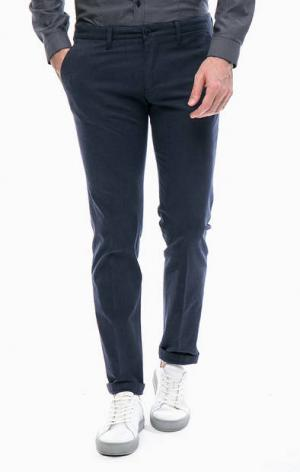 Синие зауженные брюки из хлопка DRYKORN. Цвет: синий
