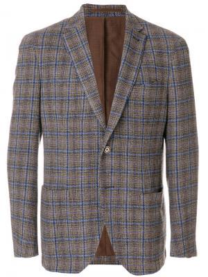 Пиджак в клетку Cantarelli. Цвет: коричневый