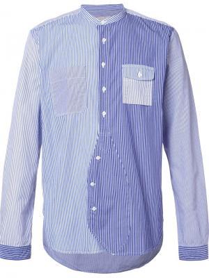Patchwork stripe shirt Wooster + Lardini. Цвет: синий