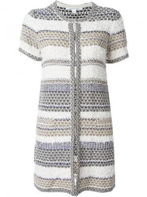 Твидовый удлиненный пиджак с короткими рукавами Diane Von Furstenberg. Цвет: многоцветный