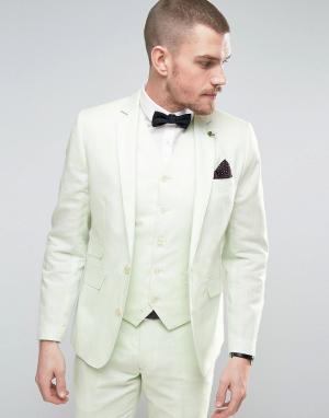 Gianni Feraud Приталенный пиджак из 55% льна с булавкой-цветком на лацкане Fe. Цвет: зеленый