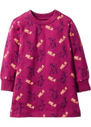 Трикотажное платье (фиолетовый с рисунком) bonprix. Цвет: фиолетовый с рисунком