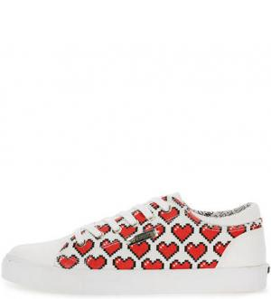 Текстильные кеды с вкладной стелькой Love Moschino. Цвет: красный
