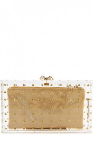 Клатч Cactus Pandora с кристаллами Charlotte Olympia. Цвет: прозрачный