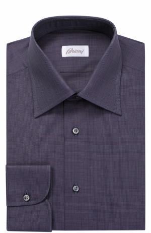 Хлопковая сорочка с итальянским воротником Brioni. Цвет: темно-фиолетовый