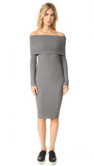Платье с открытыми плечами Lea Line & Dot. Цвет: серый меланж