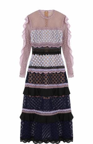 Приталенное платье-миди с длинным рукавом self-portrait. Цвет: разноцветный