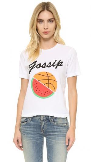 Футболка с округлым вырезом и надписью «Gossip» Rxmance. Цвет: белый