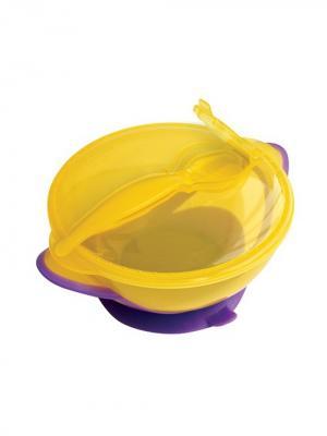 Тарелка Классика от 6 мес. с ложкой и присоской LUBBY. Цвет: желтый