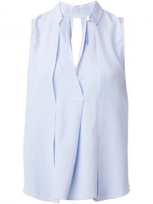 Блузка с V-образным вырезом Halston Heritage. Цвет: синий