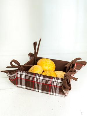 Корзинка для хлеба ARLONI. Цвет: темно-коричневый, красный, белый