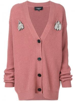 Трикотажный кардиган свободного кроя Rochas. Цвет: розовый и фиолетовый