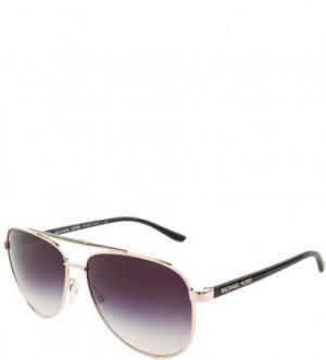 Солнцезащитные очки с фиолетовыми линзами Michael Kors. Цвет: золотистый