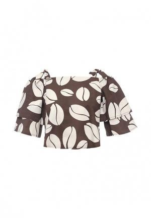 Блуза Zarina. Цвет: коричневый