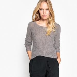 Пуловер с круглым вырезом из тонкого трикотажа SEE U SOON. Цвет: светло-серый