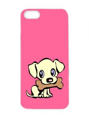 Чехол для iPhone 5/5s Пес с косточкой Chocopony. Цвет: лиловый, коричневый, светло-желтый, фуксия