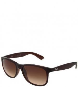 Солнцезащитные очки в пластиковой оправе Ray Ban. Цвет: коричневый