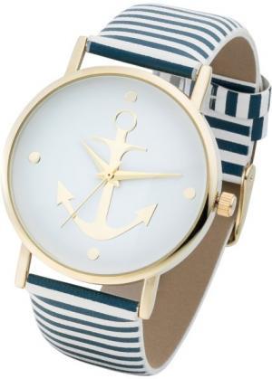 Часы на полосатом браслете (синий/белый) bonprix. Цвет: синий/белый