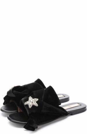 Бархатные шлепанцы с бантом и декором в виде звезды из кристаллов No. 21. Цвет: черный