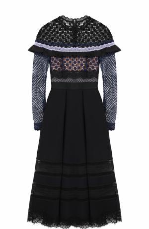 Приталенное платье-миди с кружевным лифом self-portrait. Цвет: черный