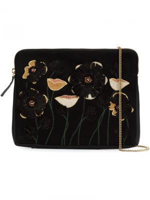 Клатч с цветочной вышивкой Lizzie Fortunato Jewels. Цвет: чёрный