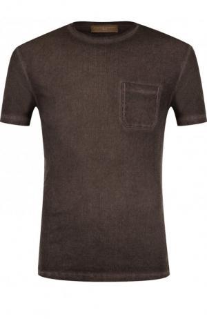 Хлопковая футболка с круглым вырезом Daniele Fiesoli. Цвет: темно-бежевый