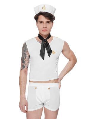 Эротическая форма моряка, матроса, юнги, капитана Le Cabaret. Цвет: белый, золотистый, черный