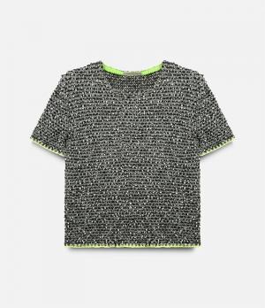 Твидовый свитер с короткими рукавами Christopher Kane. Цвет: чёрный