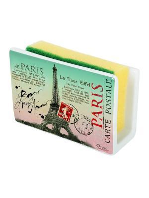 Маскировочный держатель для губки из керамики Здравствуй, Париж Orval. Цвет: зеленый, красный, черный