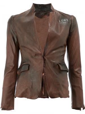 Кожаный пиджак Numero 10. Цвет: коричневый