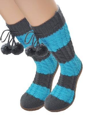 Носки-тапочки HOBBY LINE. Цвет: темно-серый, голубой