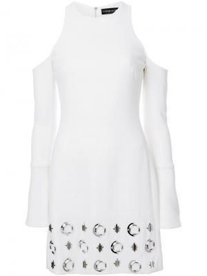 Декорированное платье с открытыми плечами David Koma. Цвет: белый