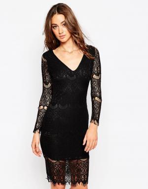 Sistaglam Кружевное платье с длинными рукавами Nina. Цвет: черный