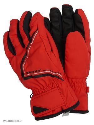 Перчатки Ziener. Цвет: красный, черный
