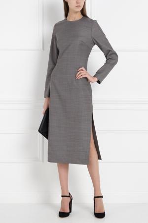 Однотонное платье-миди MoS. Цвет: серый