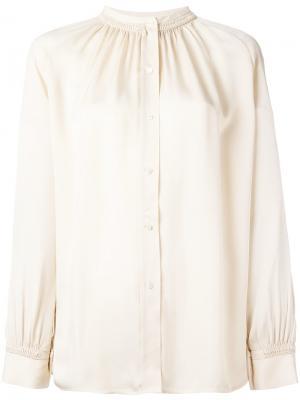 Блузка с плиссированной горловиной Vince. Цвет: телесный