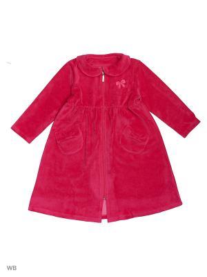 Велюровый халат для девочек SOFT SECRET. Цвет: фуксия