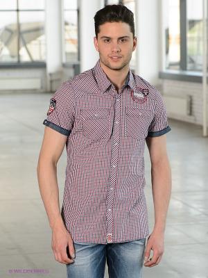Рубашка Lonsdale. Цвет: красный, белый, синий