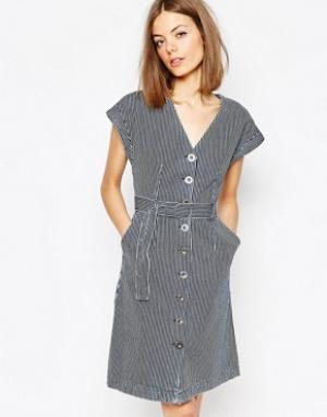 MiH Jeans Джинсовое платье в полоску с поясом M.i.h.. Цвет: мульти